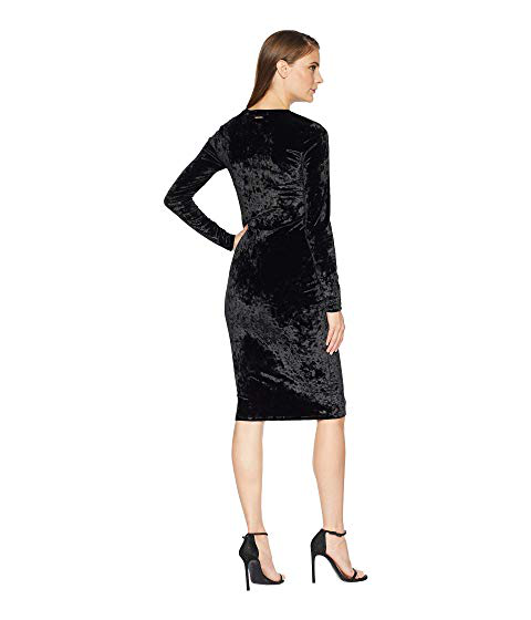 17e57eb4e581 Michael Michael Kors Crushed Velvet Long-Sleeve Dress In Black ...