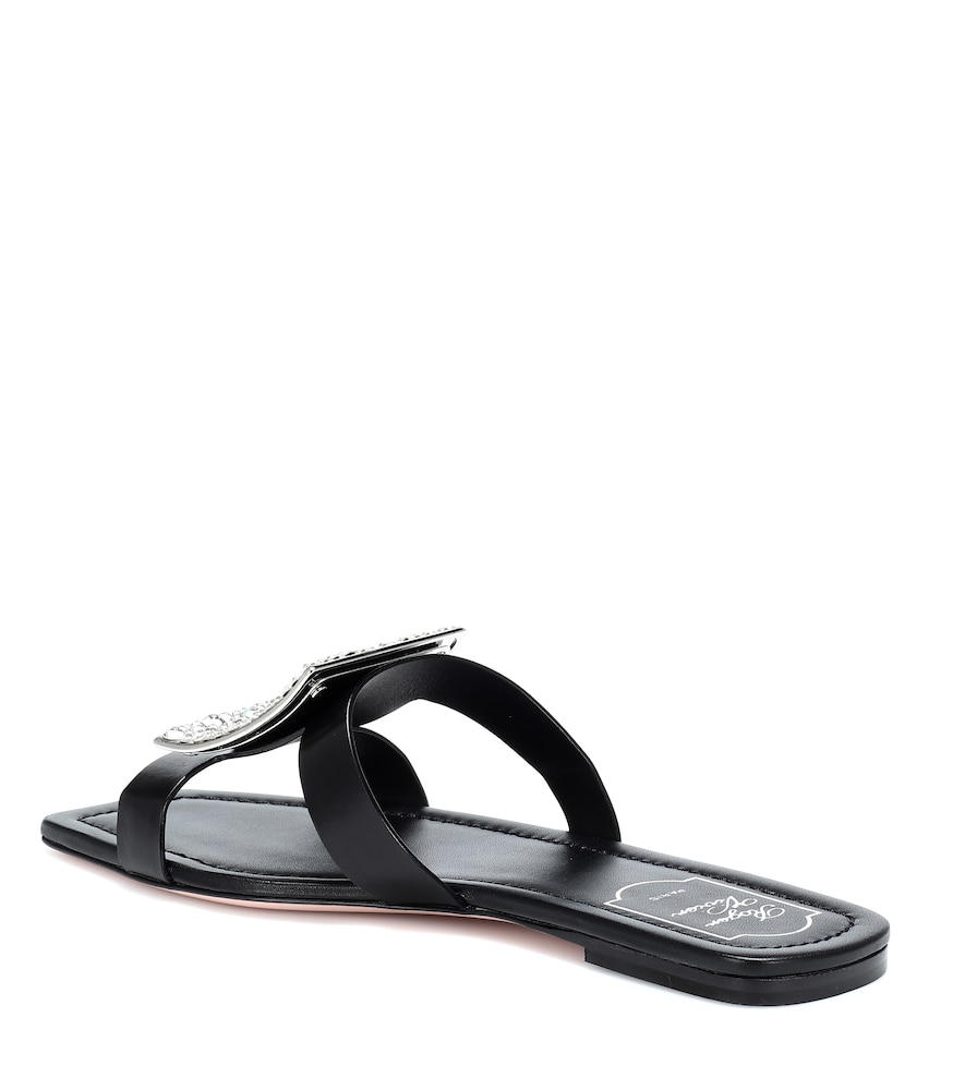 Roger Vivier Biki Viv' Embellished Leather Slides In Black