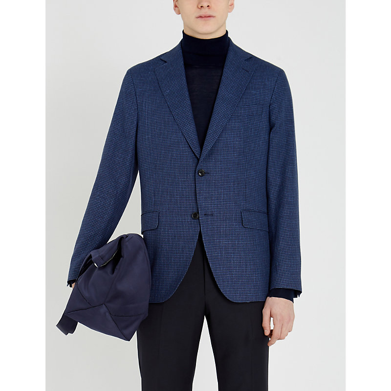 5f9d451f345 Oscar Jacobson Fogarty Checked Wool And Linen-Blend Blazer In Blue Check