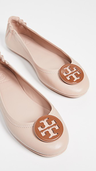 beaf9031c Tory Burch Minnie Travel Ballet Flats With Logo In Goan Sand Tan ...