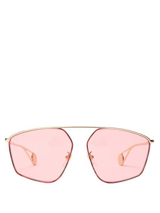 04fd25872c2 Gucci Geometric Aviator Sunglasses In Pink