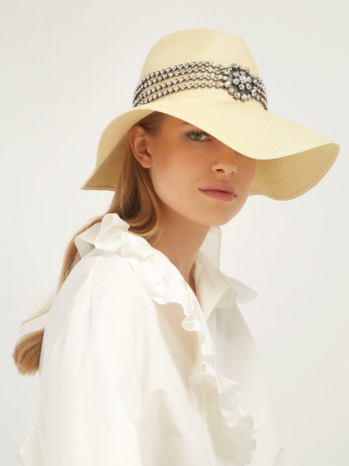 805c343bb28b2 Gucci Papier Wide Brim Hat With Crystals In Ivory Papier Crystals ...