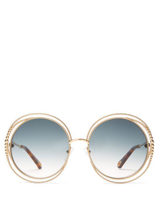 e09de4261ff5 ChloÉ - Carlina Chain Frame Oversized Round Sunglasses - Womens - Dark Green