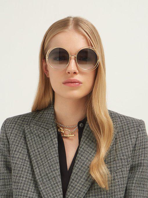 70e54311a0a ChloÉ Carlina Chain-Frame Oversized Round Sunglasses In Dark Green ...