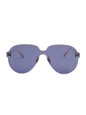 b00f5fbdb40 Dior Color Quake 3 99Mm Aviator Shield Sunglasses In Blue
