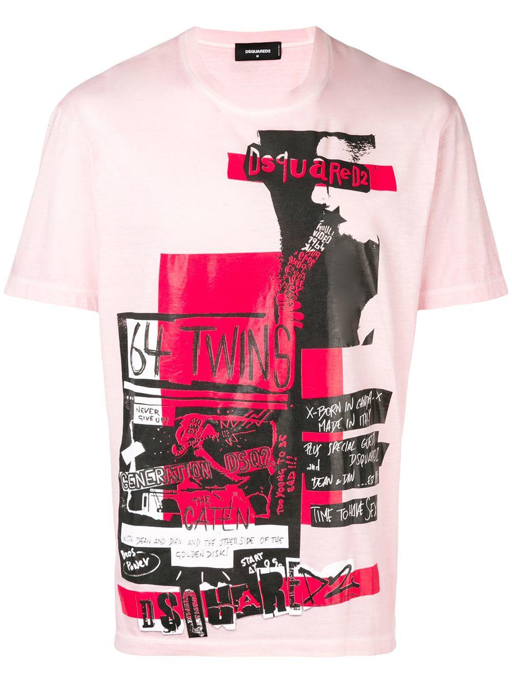 6411a5f5 Dsquared2 T-Shirt Mit Grafischem Print - Rosa In Pink   ModeSens