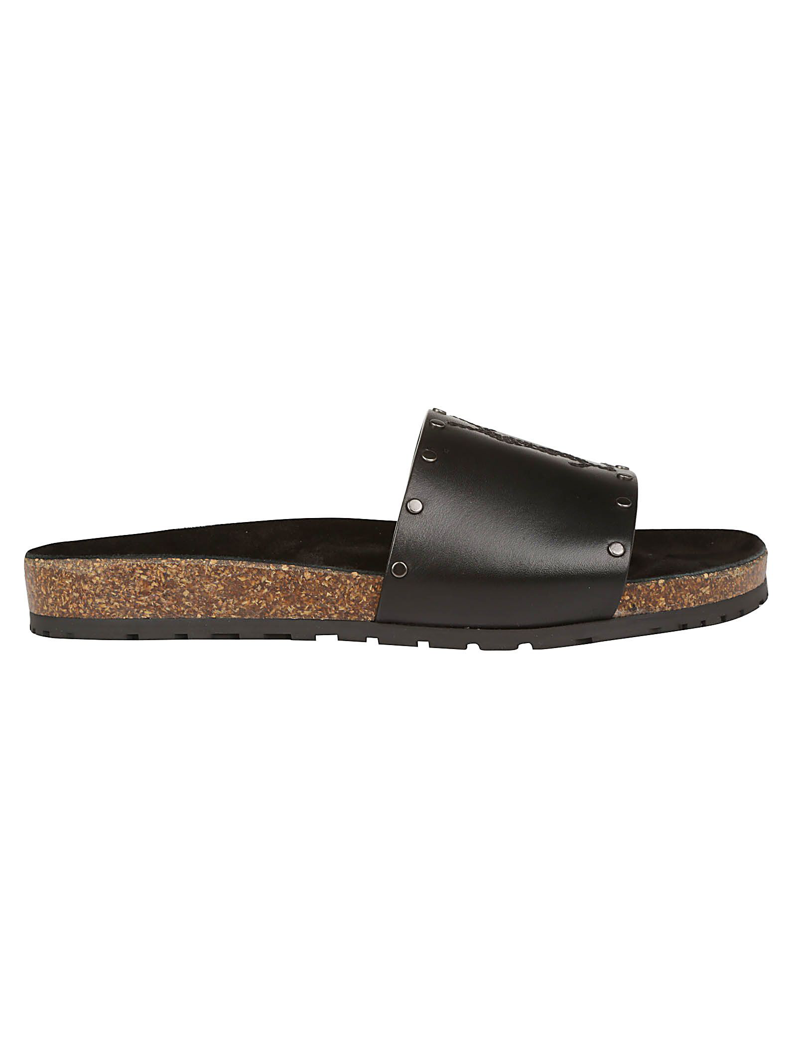 65bd57e0d87e Saint Laurent Jimmy Ysl Sandals In Leather Decorated With Studs In Black