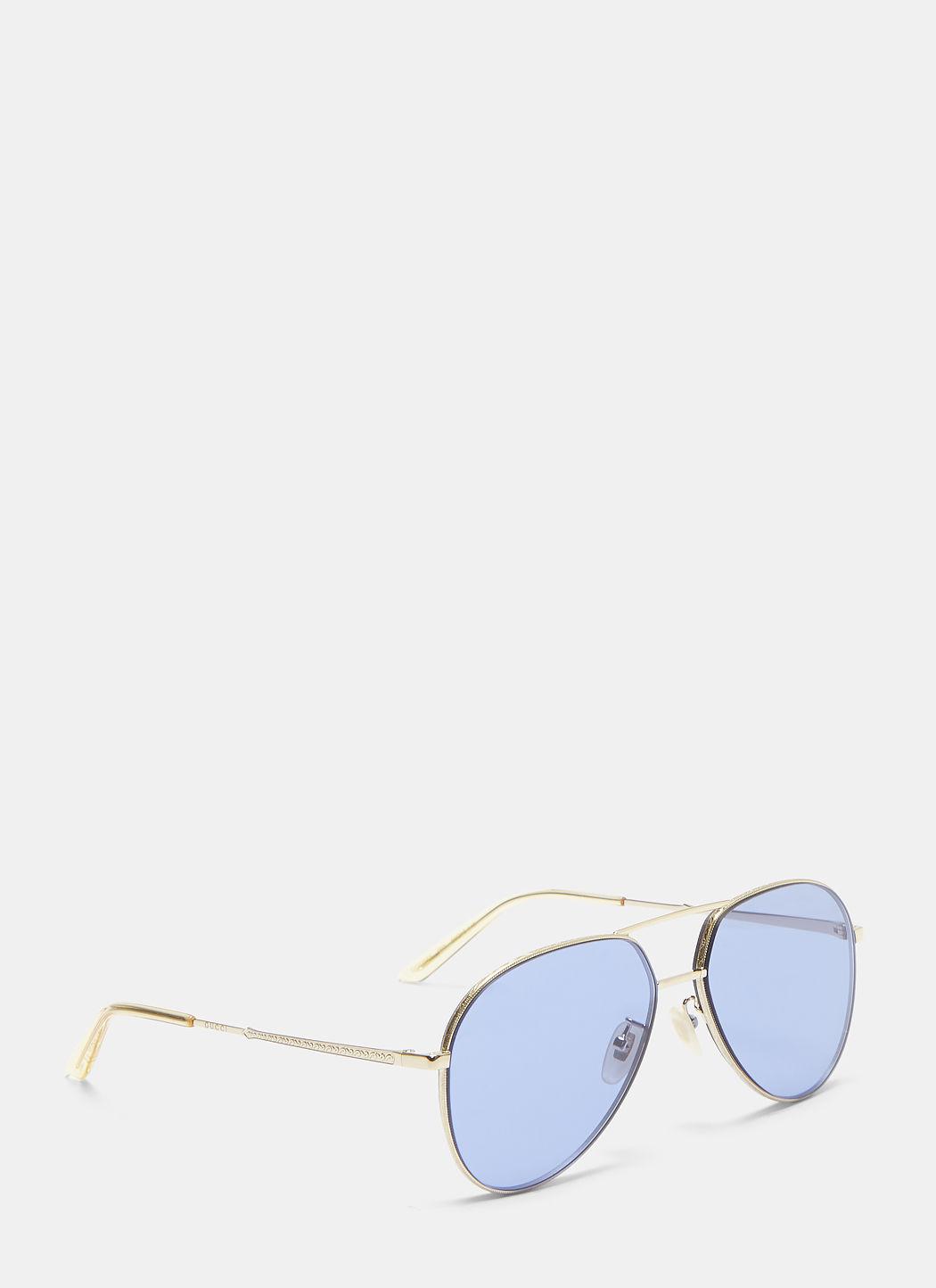 5155e837d1d Gucci Aviator Metal Sunglasses In Gold In Blue