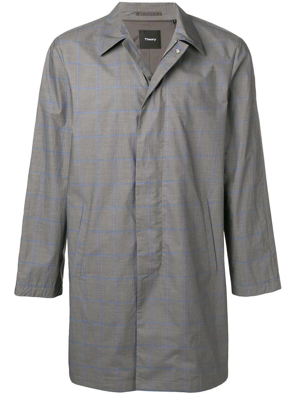 53004287e1 Theory Liam Check Coat - Grey | ModeSens