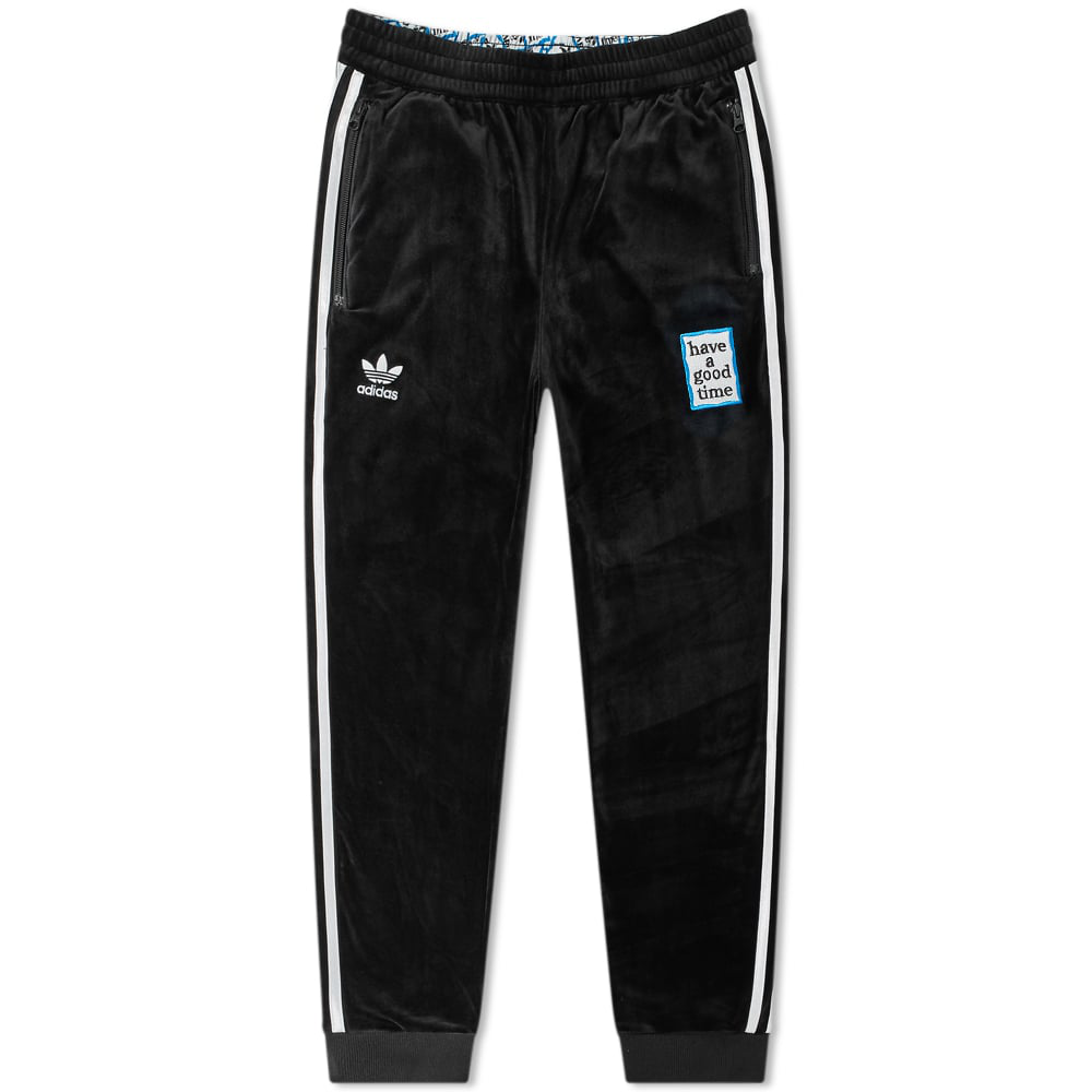 e0ca27af909 Adidas Originals Adidas X Have A Good Time Velour Track Pants In Black