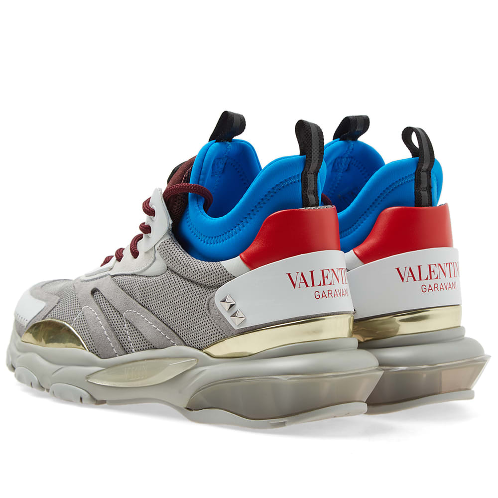 Valentino Bounce Metallic Sneaker With Vltn Logo Man White  44 In Grey
