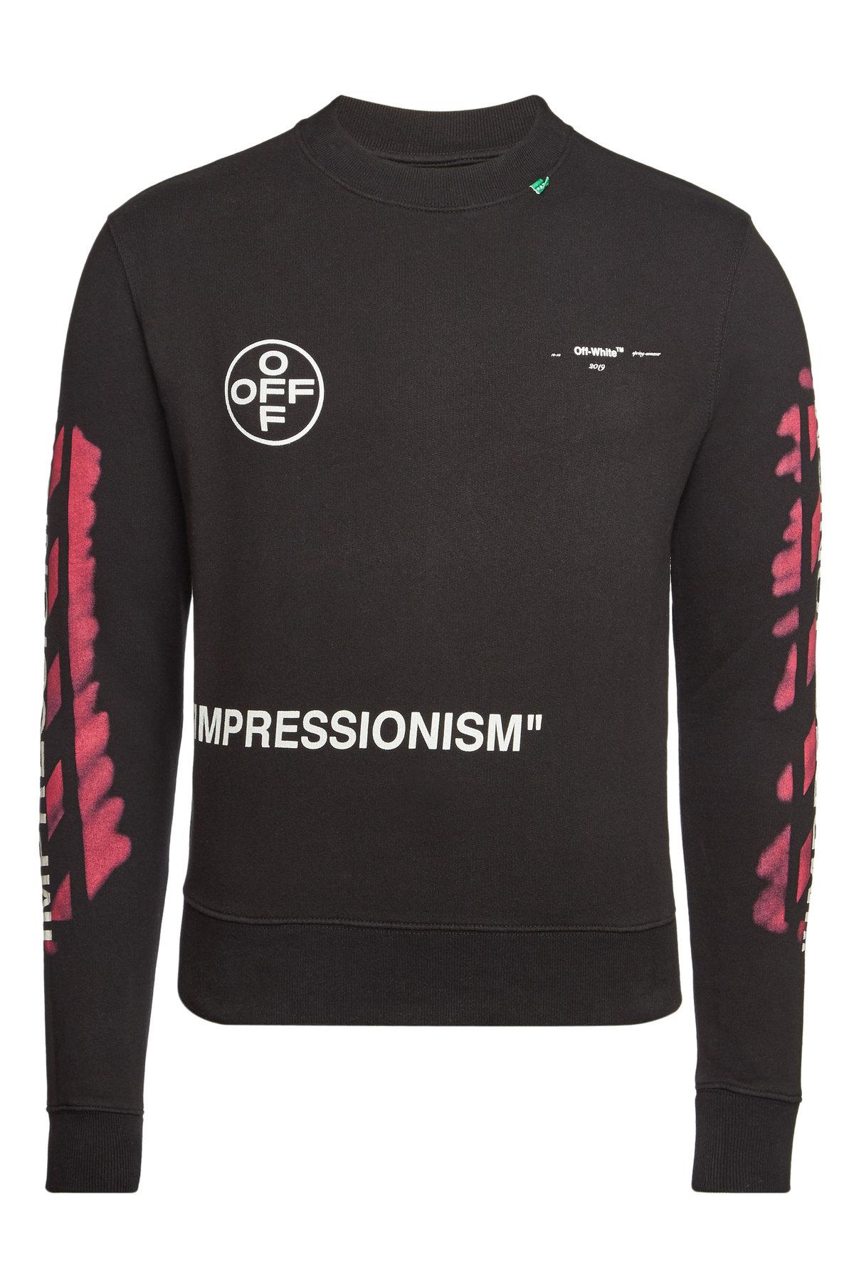 a09f1276add Off-White Cotton Diagonal Stencil Slim Crewneck Sweatshirt In Black ...