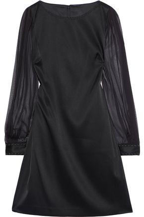 9d82e37edc5a6 Elie Tahari Woman Jilly Studded Chiffon-Paneled Satin-Crepe Mini Dress Black