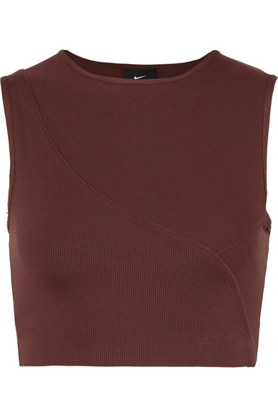 71ef3737a45287 Nike Pro Hypercool Cropped Ribbed Stretch-Jersey Top In Burgundy ...