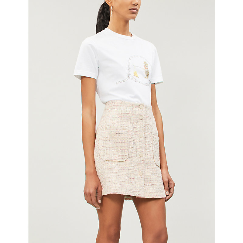 1d95b100f117 Sandro Agatha High-Rise Tweed Skirt In Pink | ModeSens