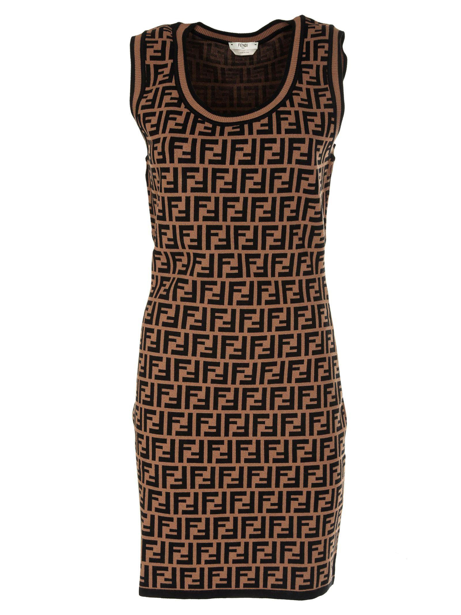 572cddca0677 Fendi Ff-Jacquard Knitted Mini Dress In F118W-Tabacco