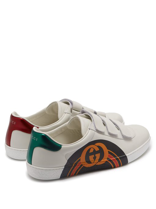 GUCCI NEW ACE GG PRINT LEATHER TRAINERS