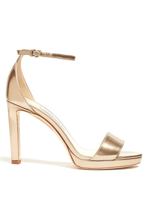 72f291e4cc04 Jimmy Choo Misty 100 Metallic-Leather Platform Sandals In Gold ...