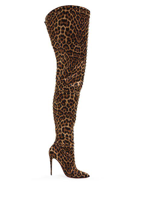 3a291344fa8a Christian Louboutin - Metrolisse Leopard Print Over The Knee Boots - Womens  - Leopard
