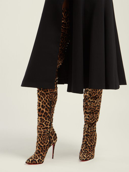 19c751c3ee31 Christian Louboutin - Metrolisse 100 Leopard Print Over The Knee Boots -  Womens - Leopard