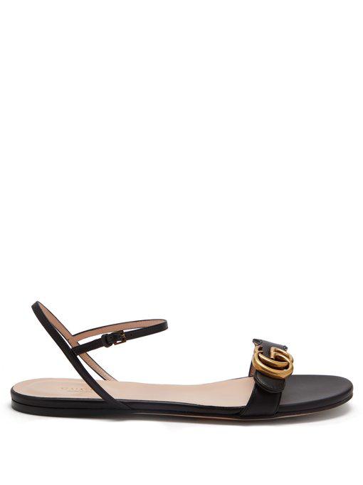 af96ec844f92 Gucci Marmont Logo-Embellished Leather Sandals In Black