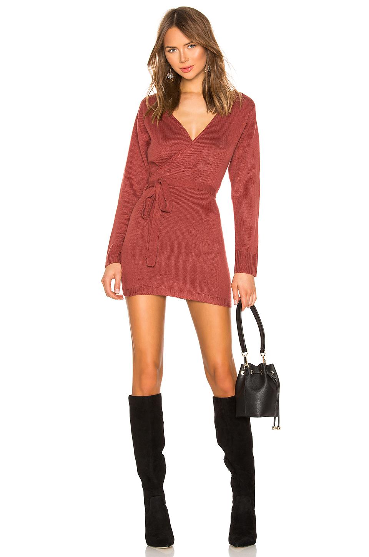 1f735f8308 Superdown Kina Wrap Sweater Dress In Burgundy