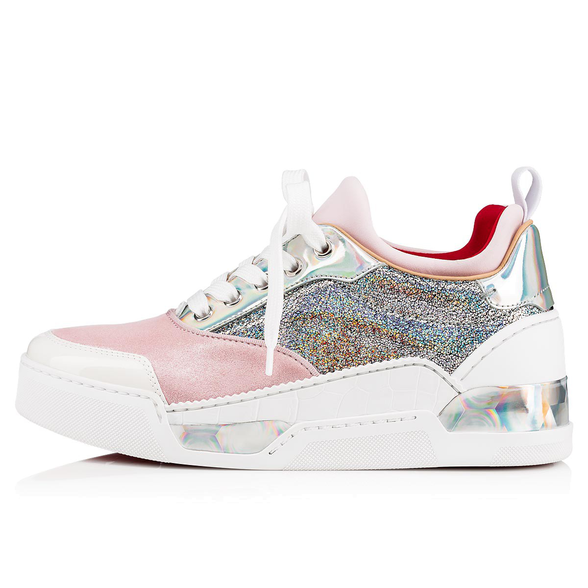9ac8bc5a4c89a Christian Louboutin Aurelien Women s Multimedia Low-Top Sneakers In Pink  Silver