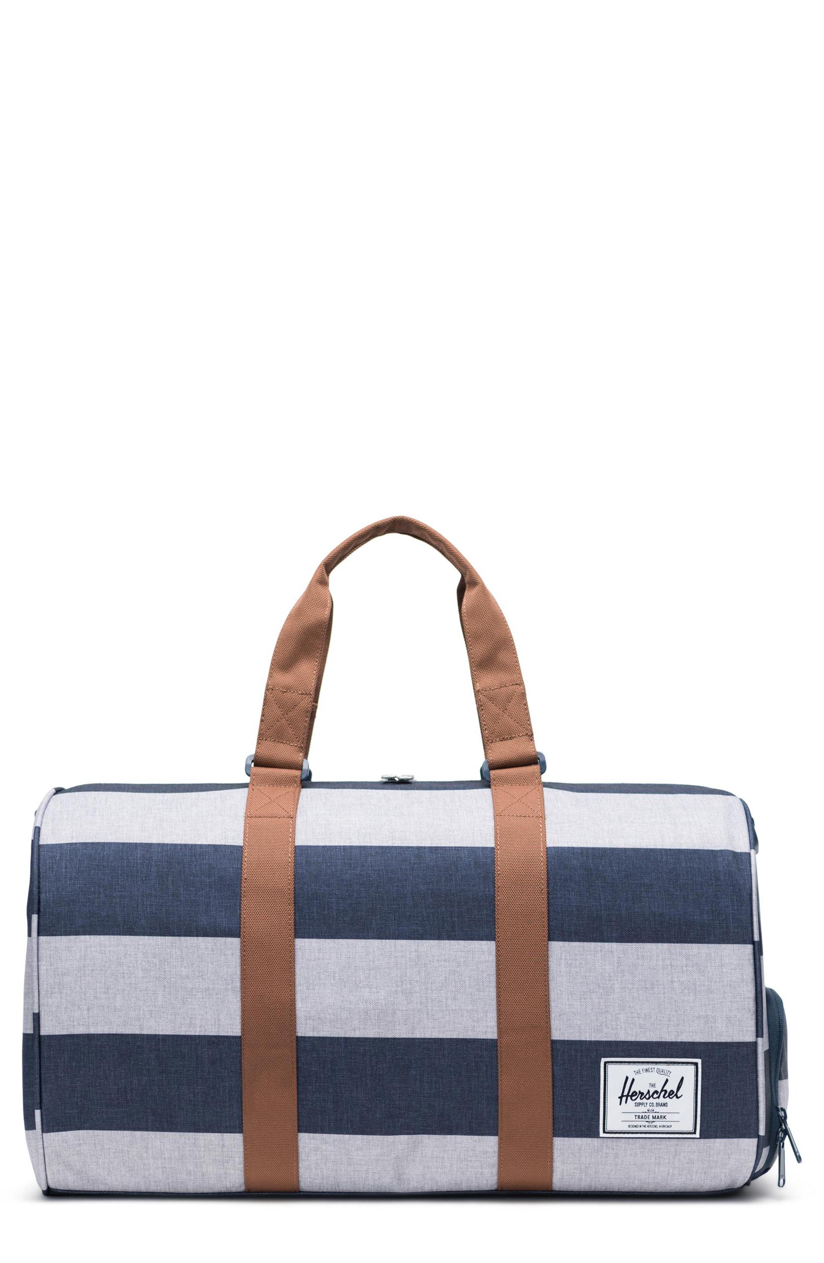 3e3fd808e2765 Herschel Supply Co. Novel Duffel Bag - Blue In Border Stripe  Saddle Brown