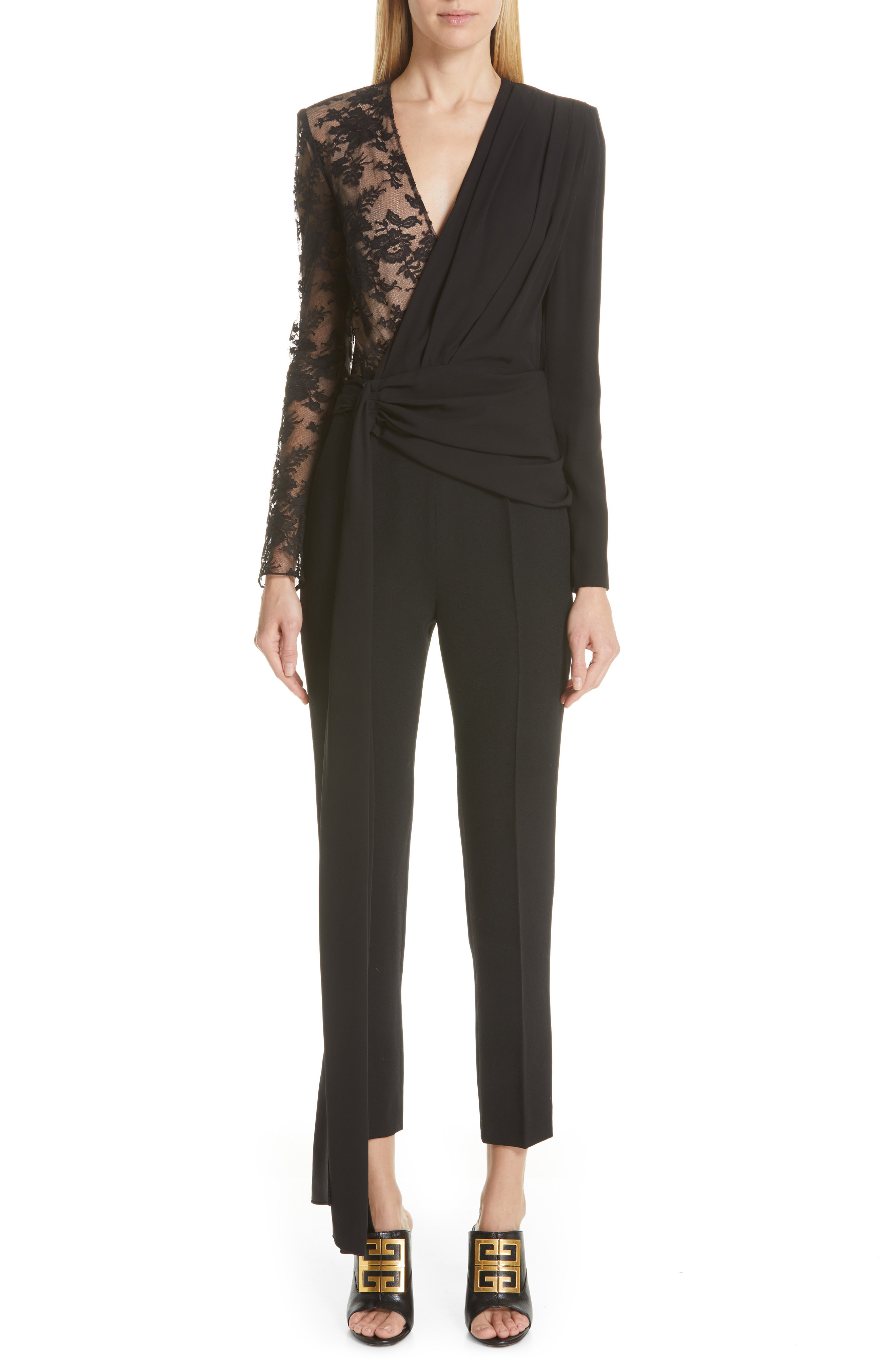 bfdf67b3188 Givenchy Lace-Panel Silk And Wool Jumpsuit In Black