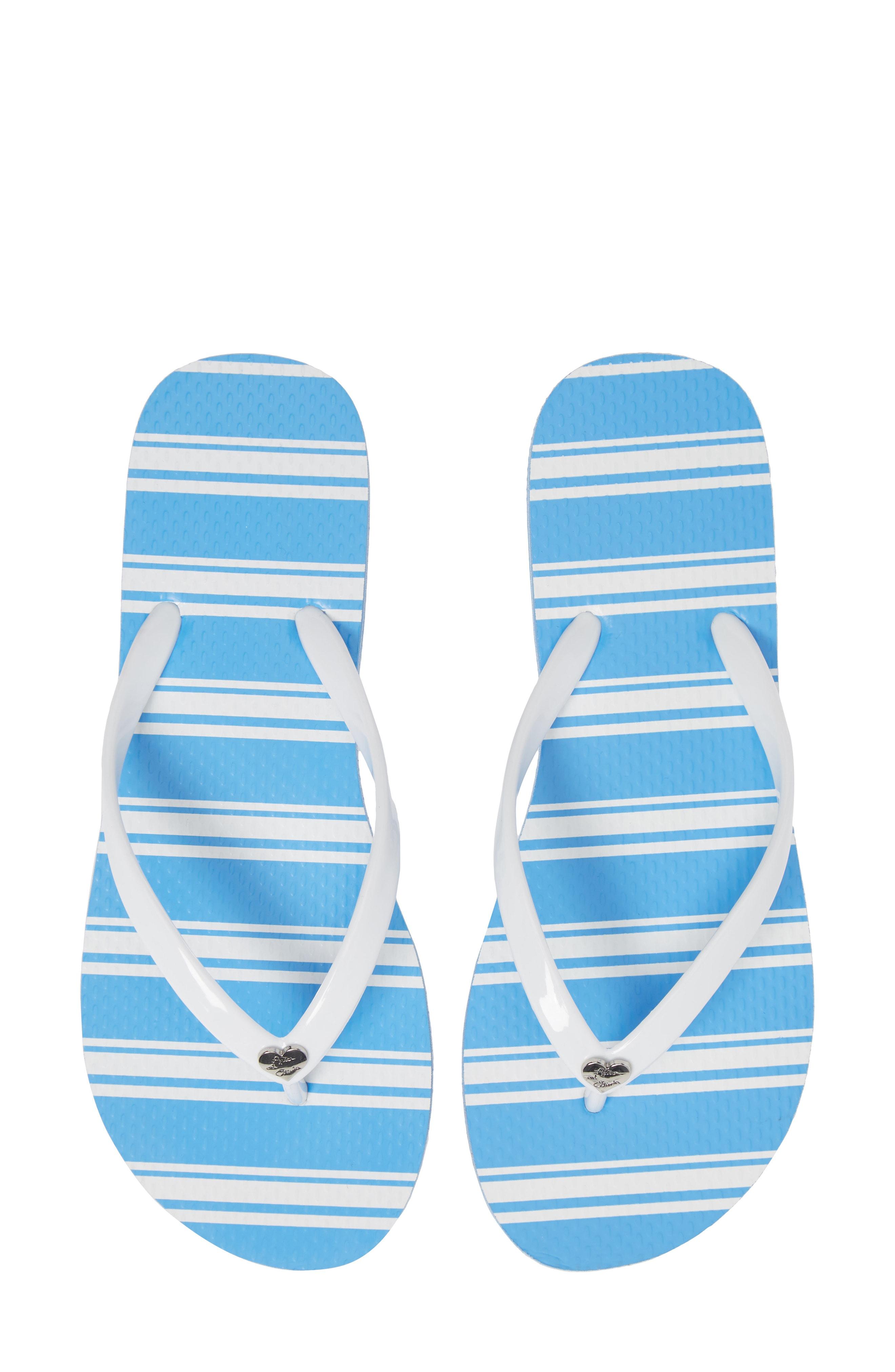 7b5028681dfe Alice And Olivia Eva Striped Flip-Flops In White
