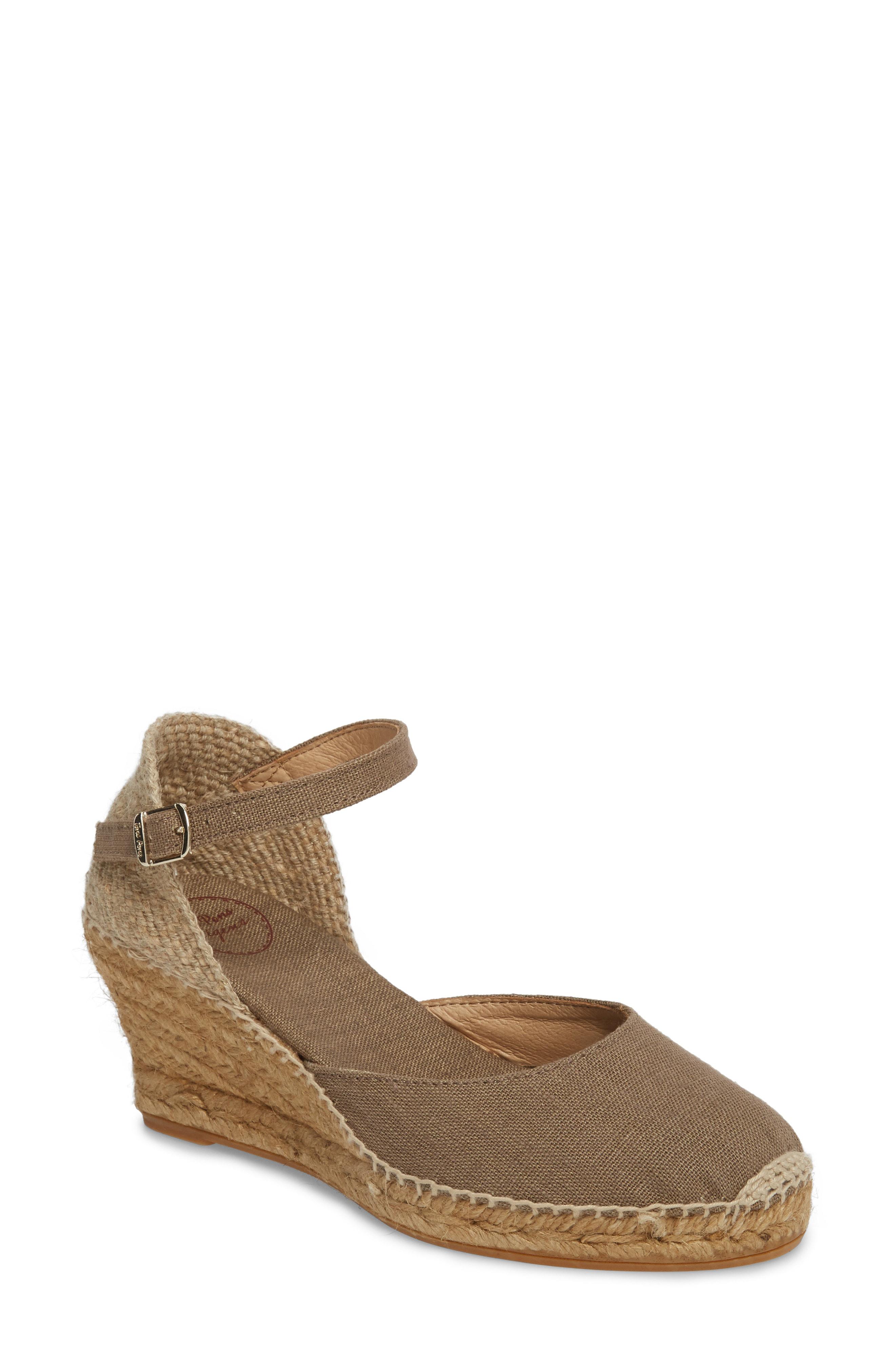 3d1b8ff3b63 'Caldes' Linen Wedge Sandal in Khaki Fabric