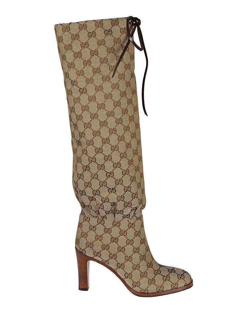 e5914ff5b56 Gucci Lisa Gg Canvas Knee Boots