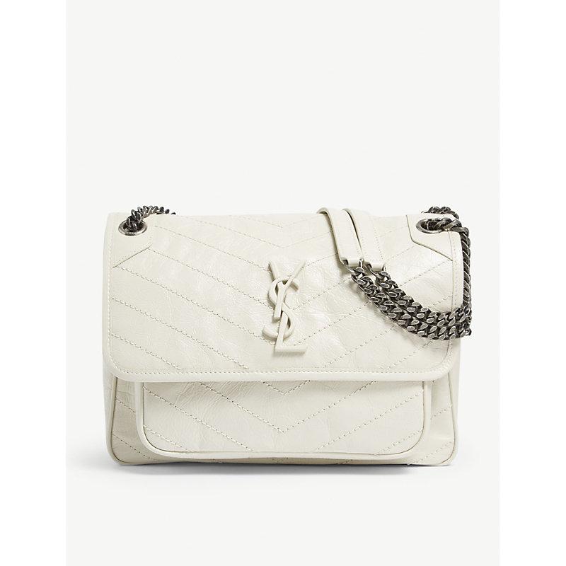 b79711f607b Saint Laurent Niki Vintage Leather Shoulder Bag In White Vintage ...
