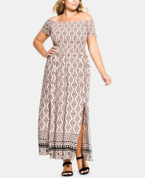 City Chic Trendy Plus Size Smocked Off-The-Shoulder Maxi Dress In ...