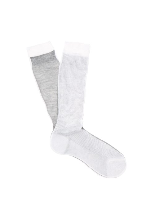 9c7dfab5 Raey - Frankenstein Two Tone Silk Socks - Womens - White Multi ...