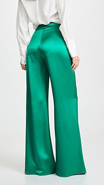 Cushnie Satin Wide Leg Pants In Jade