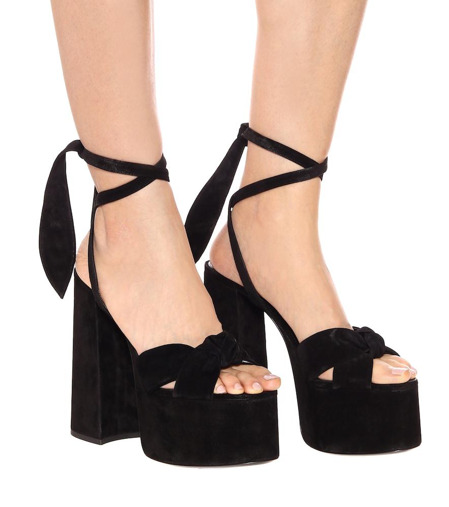 aabe55d5aa2a Saint Laurent Paige 145 Black Suede Platform Sandals