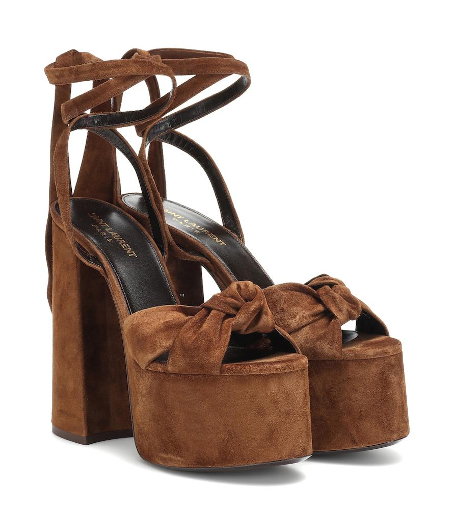 ce9dbc5cc7d Saint Laurent Paige Platform Sandals In Suede In Brown