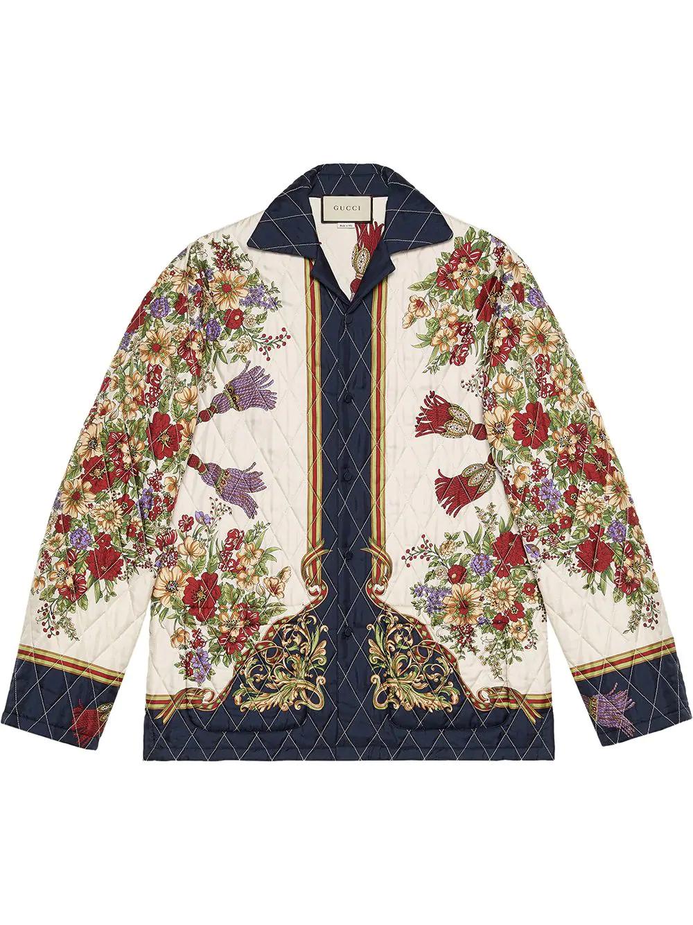 64f777e8b Gucci Floral Silk Twill Jacket In White   ModeSens