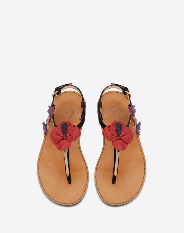 b1e3ac9fa7b6 Valentino Velvet Flat Thong Sandal With Poppy Embroidery In Black ...
