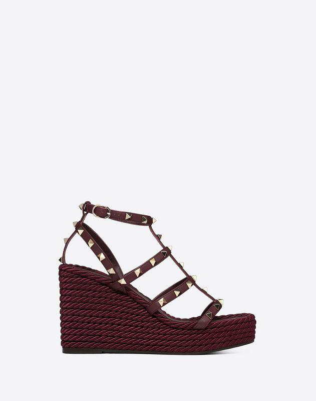 303d68411 Valentino Garavani Torchon Leather Wedge Sandals In Purple   ModeSens