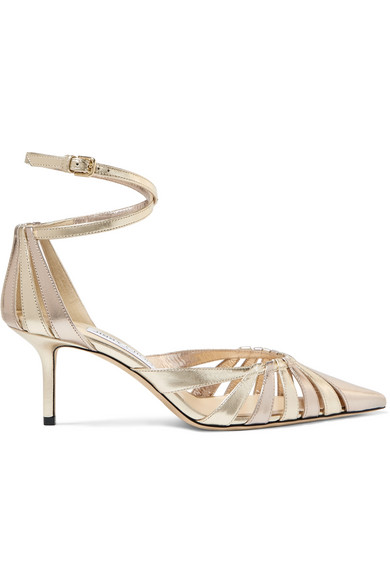 7932afae86 Jimmy Choo Travis 65 Gold Mix Metallic Nappa Leather Strappy Pump With A Pointed  Toe