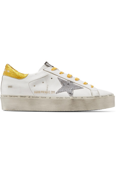8aa1fe8c62b Golden Goose Hi Star Distressed Leather Platform Sneakers In White ...