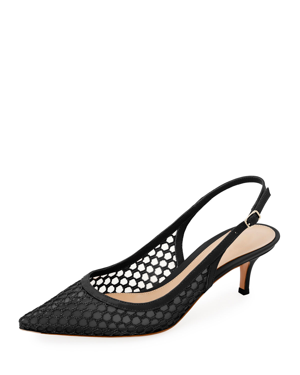 8d1c6a5df1 Gianvito Rossi Slingback Fishnet Pointed Pumps In Black | ModeSens