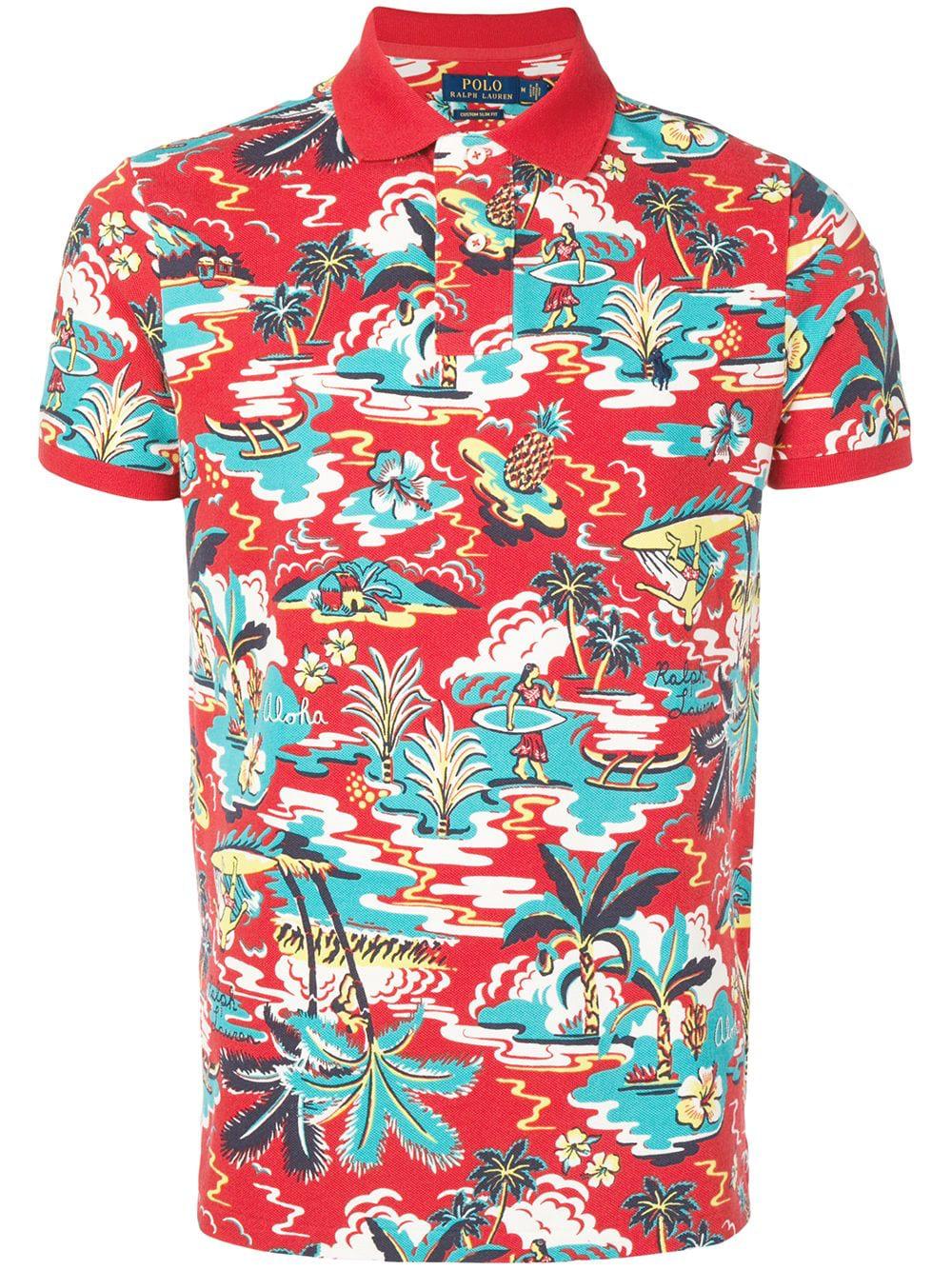 8da2005dd92eb6 Polo Ralph Lauren Poloshirt Mit Hawaii-Print - Rot In Red