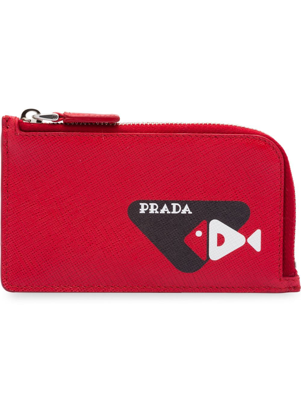 5585e87e3430 Prada Fish Sketch Motif Saffiano Leather Card Holder - Red | ModeSens