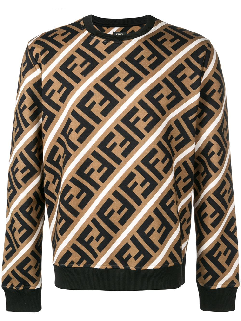920189a8 Fendi Printed Ff Logo Sweatshirt - Brown | ModeSens