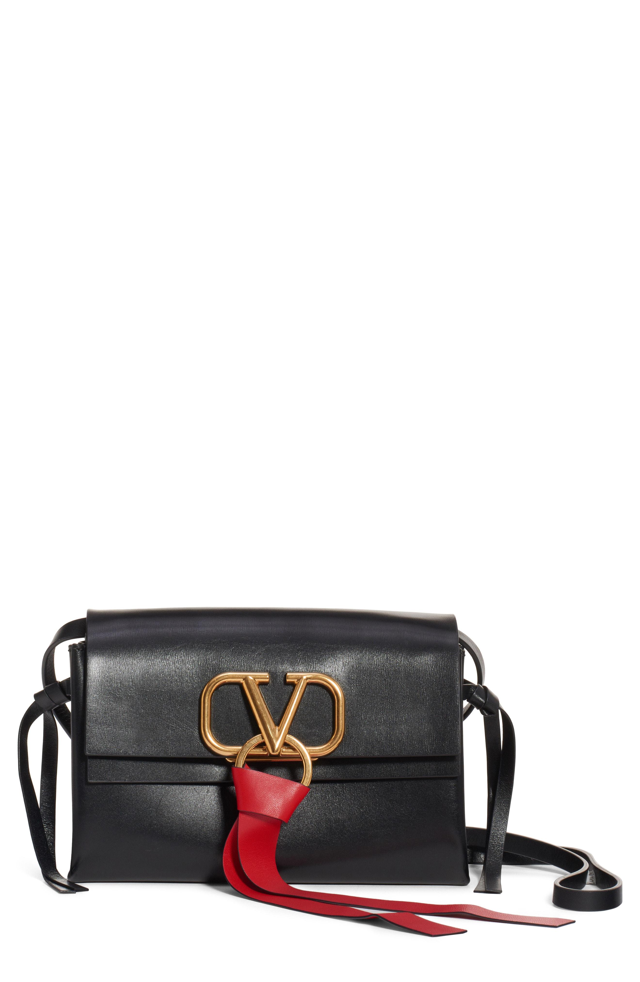 73cdcdb7ee91a Valentino V-Ring Leather Crossbody Bag - Black In Nero-Nero  Nero ...