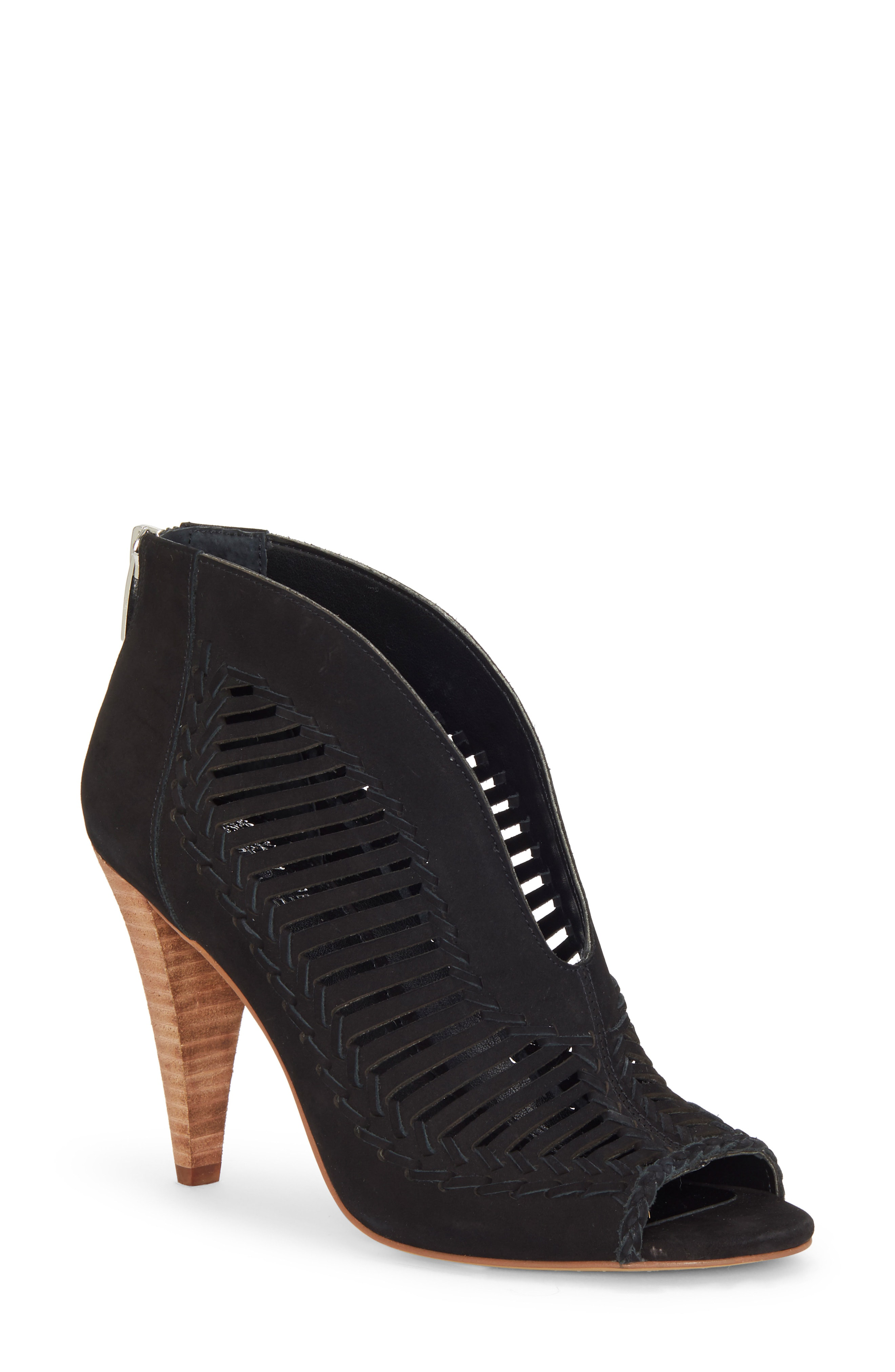 0387c582cf9 Vince Camuto Acha Cutout Peep Toe Bootie In Black Nubuck Leather ...