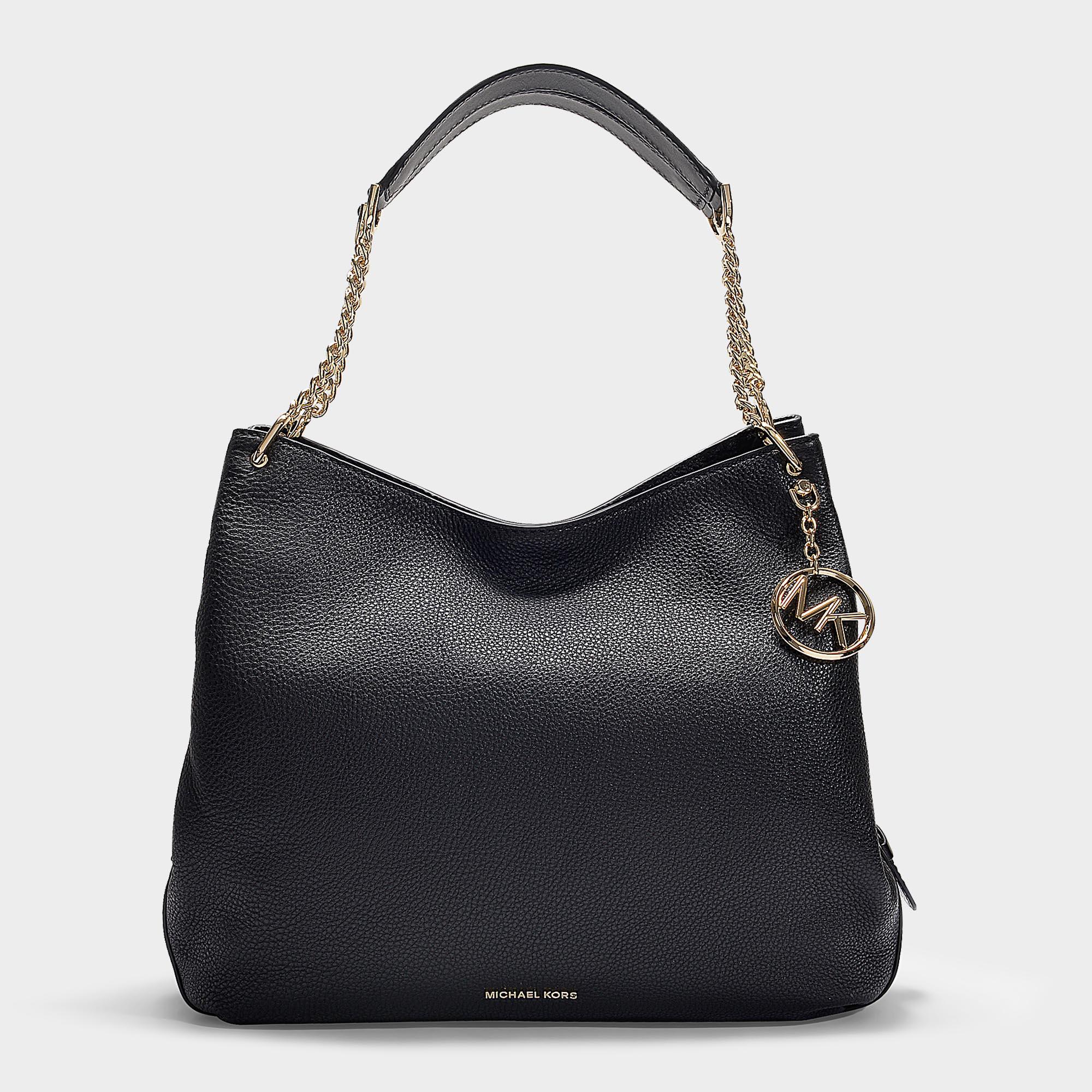 67950b9180e599 Michael Michael Kors | Lillie Large Shoulder Tote Bag In Black Grained  Calfskin